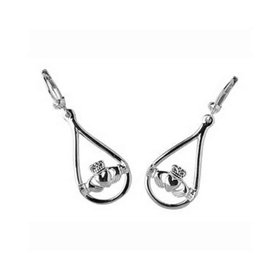 Silver Claddagh Earrings Pear Shipped