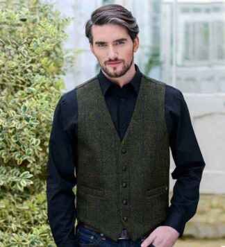 Irish Tweed Vest - Dark Green