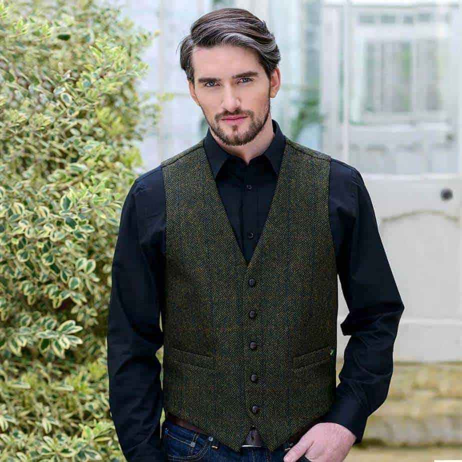 Irish Tweed Vest - Dark Green