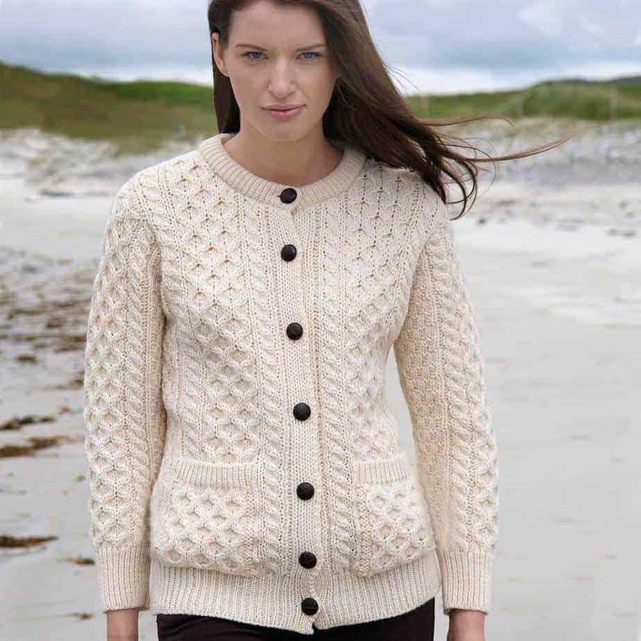 Irish Aran Sweater - 100% Super Soft Irish Wool - Honeycomb Knit Pattern