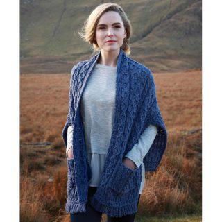 Ladies Irish Wool Wrap. Made in Ireland