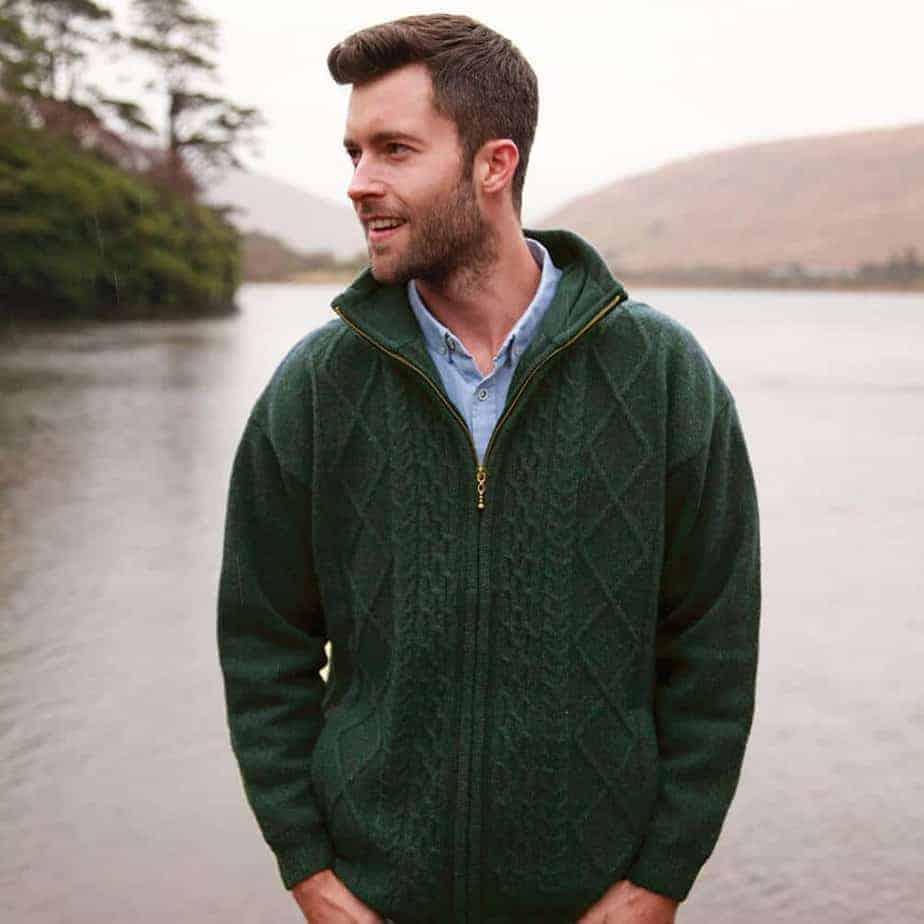 Irish Wool Fisherman Sweater - Full Zip - 100% Irish Wool - Top ...