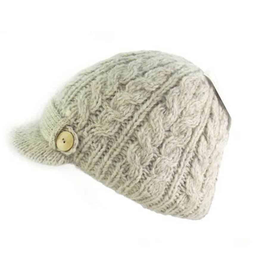 Cable Knit Irish Wool Peak Cap - Celtic Clothing Company