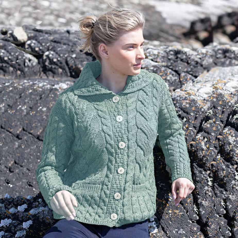Women\'s Aran Sweater - Six Button - Front Pockets - 100% Irish Wool