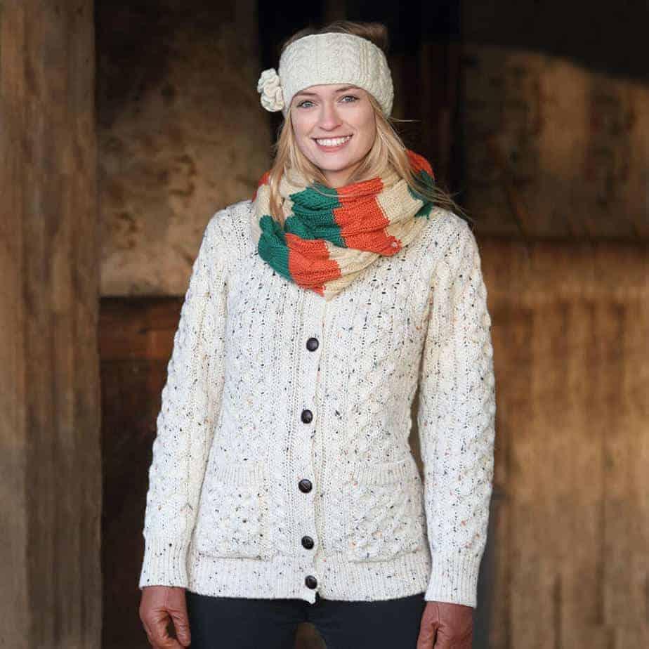 Women's Wool Cardigan - Oatmeal Fleck - Celtic Clothing Company