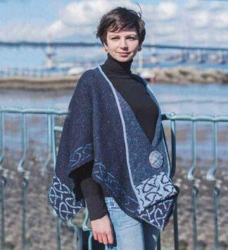 Ladies Celtic Poncho Wrap Blue