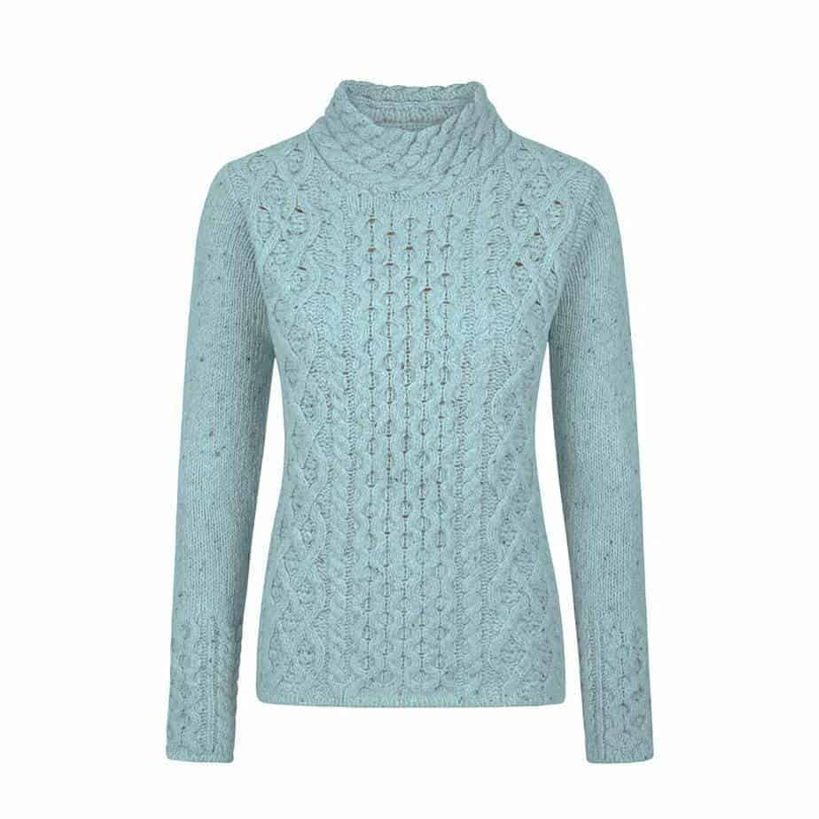 Women's Wool Sweater - Claddagh Cable Knit Cashmere - 100% Irish