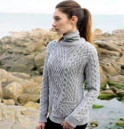 Ladies-Soft-Gray-Sweater-Cable-Crew-260