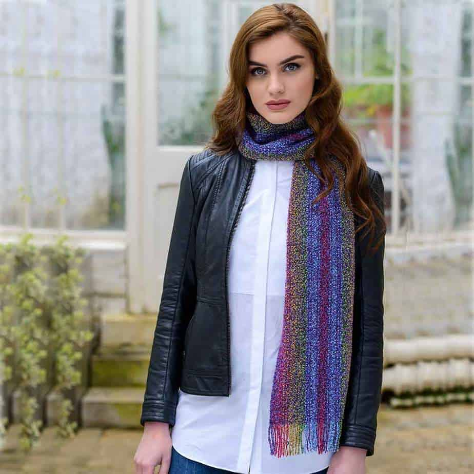 Ladies Mohair Scarf - Rainbow Colors