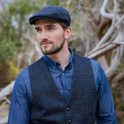 Tweed Vest - Police Blue