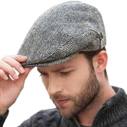 Irish Tweed Flat Cap - Herringbone Design