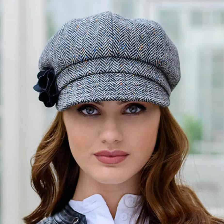 Ladies Newsboy Cap - Gray Tweed