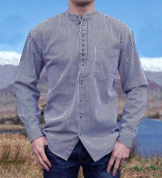 Irish Grandfather Shirt - Blue Pinstripe