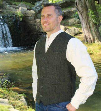 Men's Tweed Vest - Olive Green