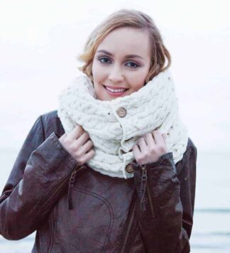 White Irish Wool Snood Scarf