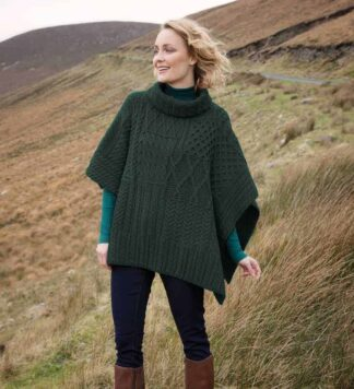 Irish Wool Poncho - Cowl Neck