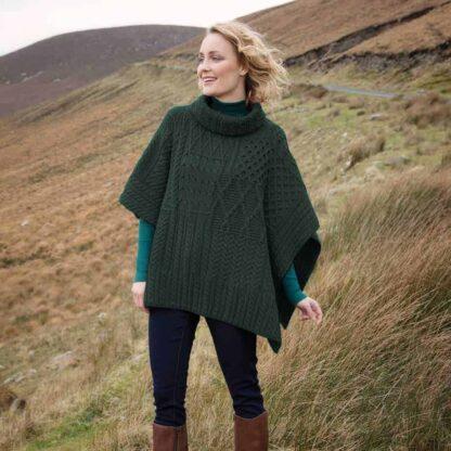 Irish Wool Poncho - Cowl Neck