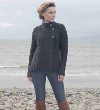 Women's Luxury Irish Wool Sweater, Gray