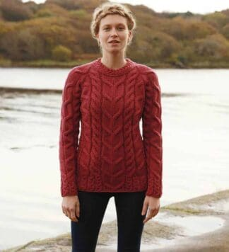 Irish Wool Sweater Red, Raglan Style
