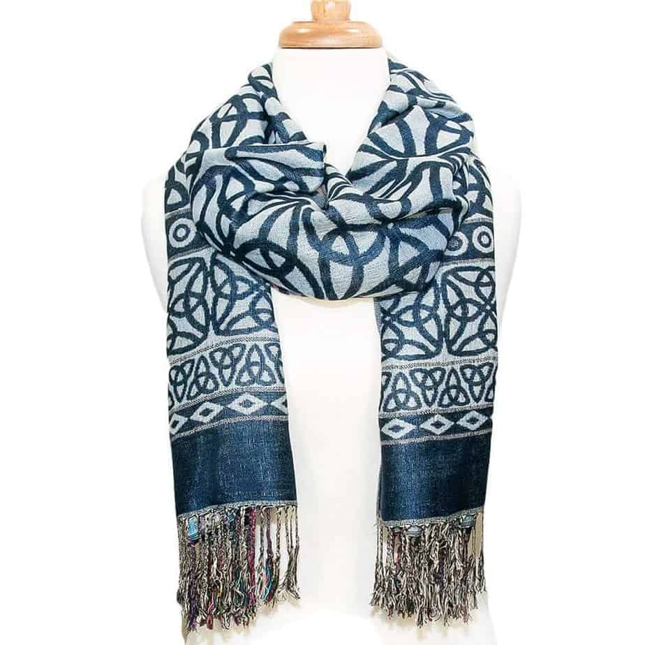 celtic design scarf denim blue fast shipping from our