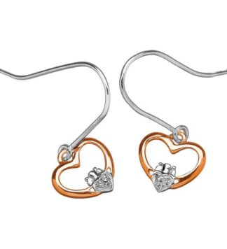 14K Gold Claddagh Diamond Earrings