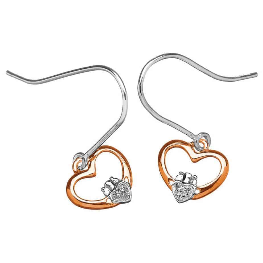 14K Gold Claddagh Diamond Earrings