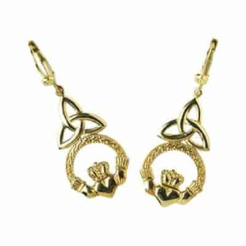Gold Celtic Claddagh Earrings