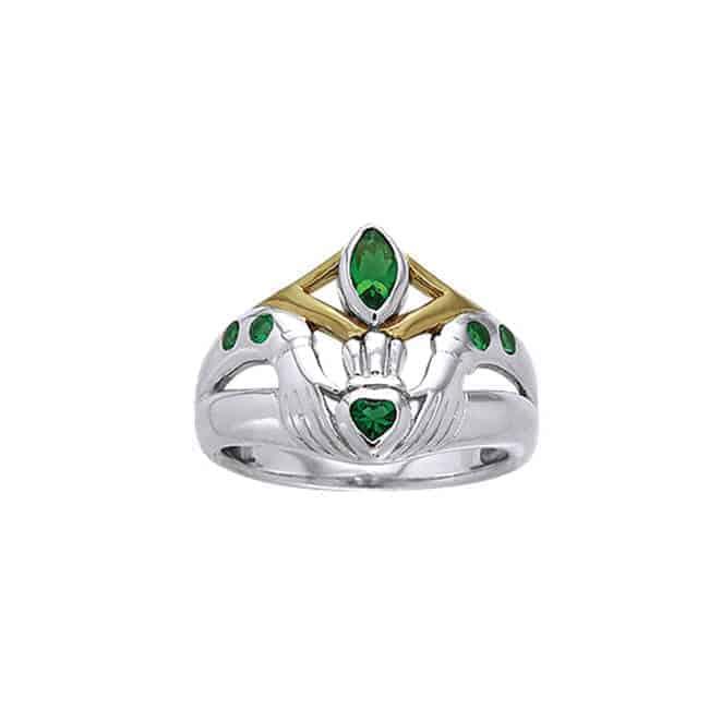 Emerald Glass Claddagh Ring