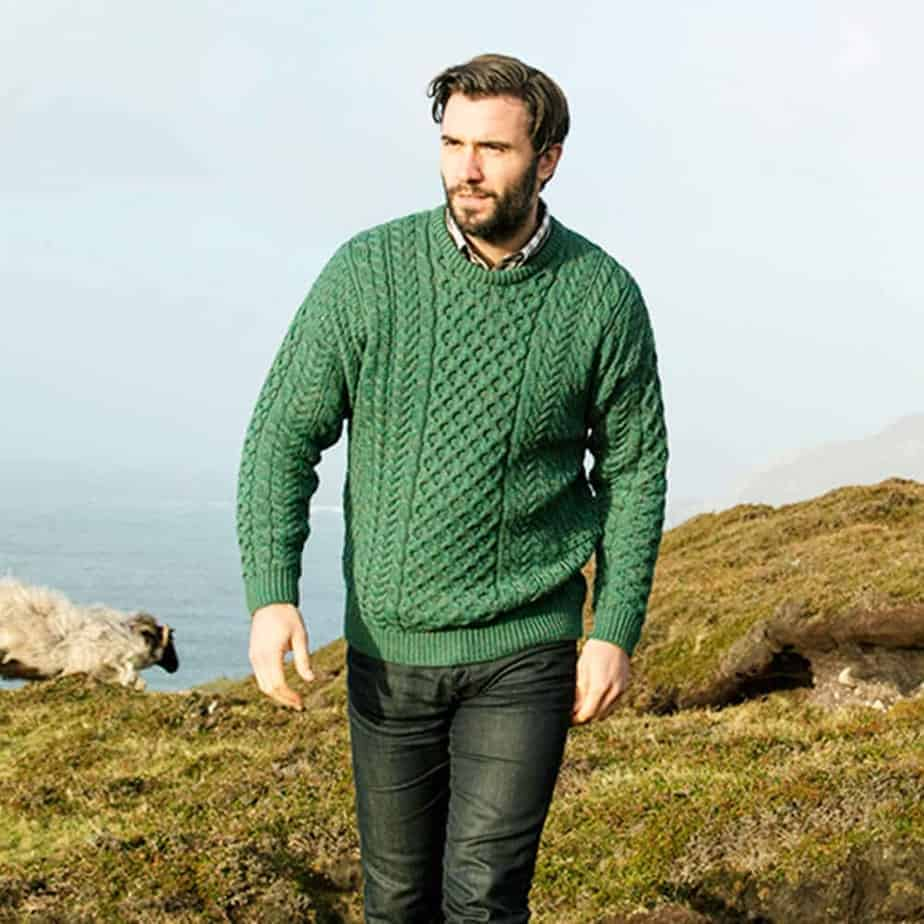 Irish Wool Sweater for Men - Green - Made in Ireland - 100% Irish Wool