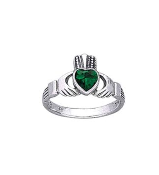 Claddagh Ring - Emerald Glass