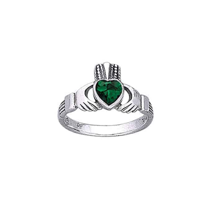 Claddagh Ring - Emerald Glass