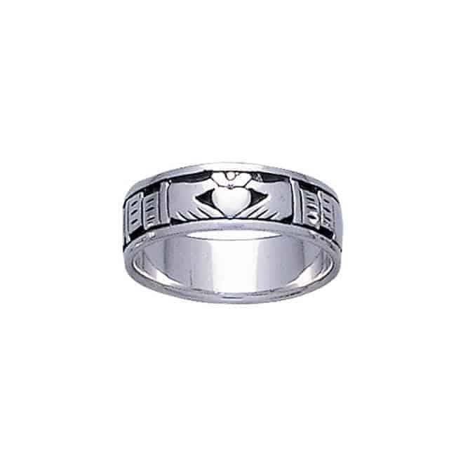 Modern Silver Claddagh Ring