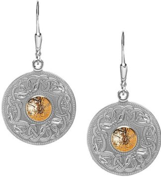 Silver Celtic Earrings - Gold Bead